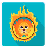 Lion jumping through a ring of fire in the circus icon flat style with long shadows,  on white background. Vector illustration Stock Photography