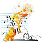 Lion the king 3. Jpeg and vector illustration with the lion animal and tree on the paper sheet vector illustration