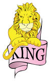 Lion king with banner. Vintage lion king with banner Royalty Free Stock Images