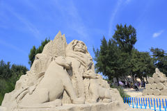 Lion king family sand sculpture. Sand sculpture of the family of lion king stock photography