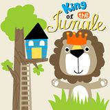 Lion the king of jungle. With tree home, vector cartoon. EPS 10 stock illustration