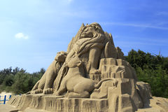 Lion king sand sculpture Stock Photography