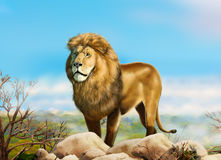 Lion king Summer wildlife royalty free illustration