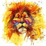 Lion King T-shirt graphics, Lion illustration with splash watercolor textured background. unusual illustration watercolor Lion. King fashion print, poster for stock illustration