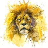 Lion King-T-shirtgrafiek, Leeuwillustratie met de geweven achtergrond van de plonswaterverf de ongebruikelijke Leeuw van de illus royalty-vrije illustratie