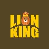 Lion King. Wild predator and crown. Royal hat and  big serious b Stock Photography