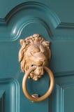 Lion knocker. Doors with door knocker in the shape of lion head Stock Photos