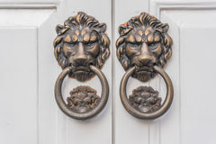 Lion knocker on white door Royalty Free Stock Photography