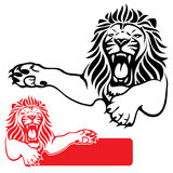 Lion label. Vector illustration of lion in black and red Stock Photo