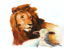 Lion & Lamb Painting Royalty Free Stock Photography