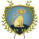 Lion in laurel wreath. Lion on a shield surrounded by a laurel wreath Stock Photography