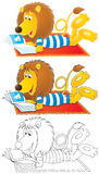 Lion lays on carpet and reads illustrated magazine. High resolution clip-arts: Funny Lion wearing beachwear reads an illustrated magazine on the red carpet ( Stock Images