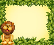 A lion and a leafy frame template Stock Image