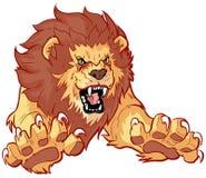 Lion Leaping Forward Vector Illustration de rugido Imagen de archivo libre de regalías