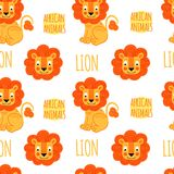 Lion with lettering vector seamless pattern Stock Image