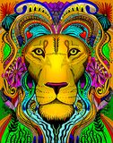 Lion line art primative head dress. A hand drawn line art image with multiple colors of a majestic male lion with adornments and bright colors in his mane and Stock Photography