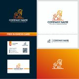 Lion with line style logo and business card design concept template vector illustration