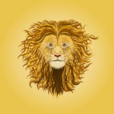 Lion. Drawn by elegant wavy lines Stock Images