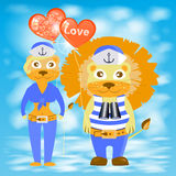 Lion and lioness with balloons heart Royalty Free Stock Photos