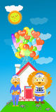 Lion and lioness with a house and lot of balloons Royalty Free Stock Image