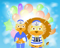 Lion and lioness sailors with balloons Royalty Free Stock Images