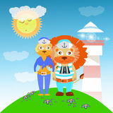 Lion and lioness sailors from the lighthouse vector illustration