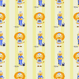 Lion and lioness sailors. seamless pattern Royalty Free Stock Image