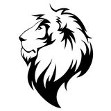 Lion. S head black isolated on white Royalty Free Stock Photography