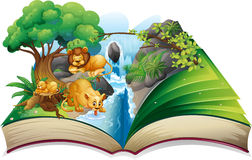 Lion living by the waterfall Stock Photo