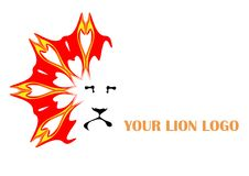 Lion logo. Vector illustration of lion with stylized flames Royalty Free Stock Photos