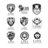 Lion logo design set, design element for poster, banner, embem, badge, tattoo, t shirt print, classic vintage style. Vector Illustrations isolated on a white Royalty Free Stock Photos