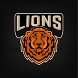 Lion Logo Het embleemmalplaatje van het sportteam Stock Foto
