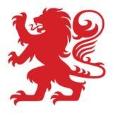 Lion Logo Mascot Vector héraldique rouge Photographie stock libre de droits