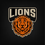 Lion Logo Plantilla del emblema del equipo de deporte Foto de archivo
