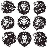 Lion Logo Set Collection Package Premium-Vektor-Entwurf stock abbildung