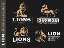 Lion logo set - vector illustration, emblem on black background Stock Photos