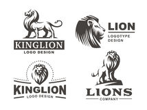 Lion logo set - vector illustration, emblem design Royalty Free Stock Photos