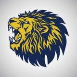 Lion Logo Vector Blue Yellow Template d'urlo illustrazione di stock
