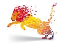 Lion Low-explodeert het veelhoek geometrische patroon - Vectorillustratie stock illustratie