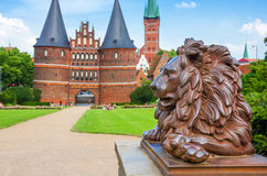 Lion. Lubeck, Germany. Lion statue beside Holstein Gate at Lubeck. Germany Royalty Free Stock Photography