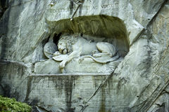 The Lion of Lucerne. The lion carved in stone is the symbol of the city of Lucerne Royalty Free Stock Photos