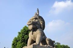 Lion Luzhi Ancient Town de piedra chino tallado foto de archivo libre de regalías