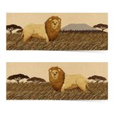 Lion made from recycled paper background Royalty Free Stock Photography