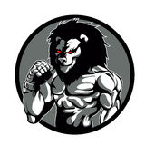 A lion man character MMA fighter pose. Lion cartoon Stock Photos