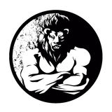 A lion man  fighter black and white. Lion cartoon Royalty Free Stock Photography
