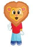 Lion Mascot Cartoon Character drôle Photos stock