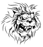 Lion mascot character. A black and white illustration of a fierce lion animal character or sports mascot Royalty Free Stock Photo