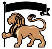 Lion mascot hold a flag Stock Image