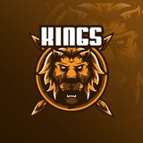 Lion mascot logo design vector with modern illustration concept style for badge, emblem and tshirt printing. angry lion head. Illustration with a spear stock illustration