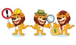 Lion Mascot Vector avec l'argent Image stock